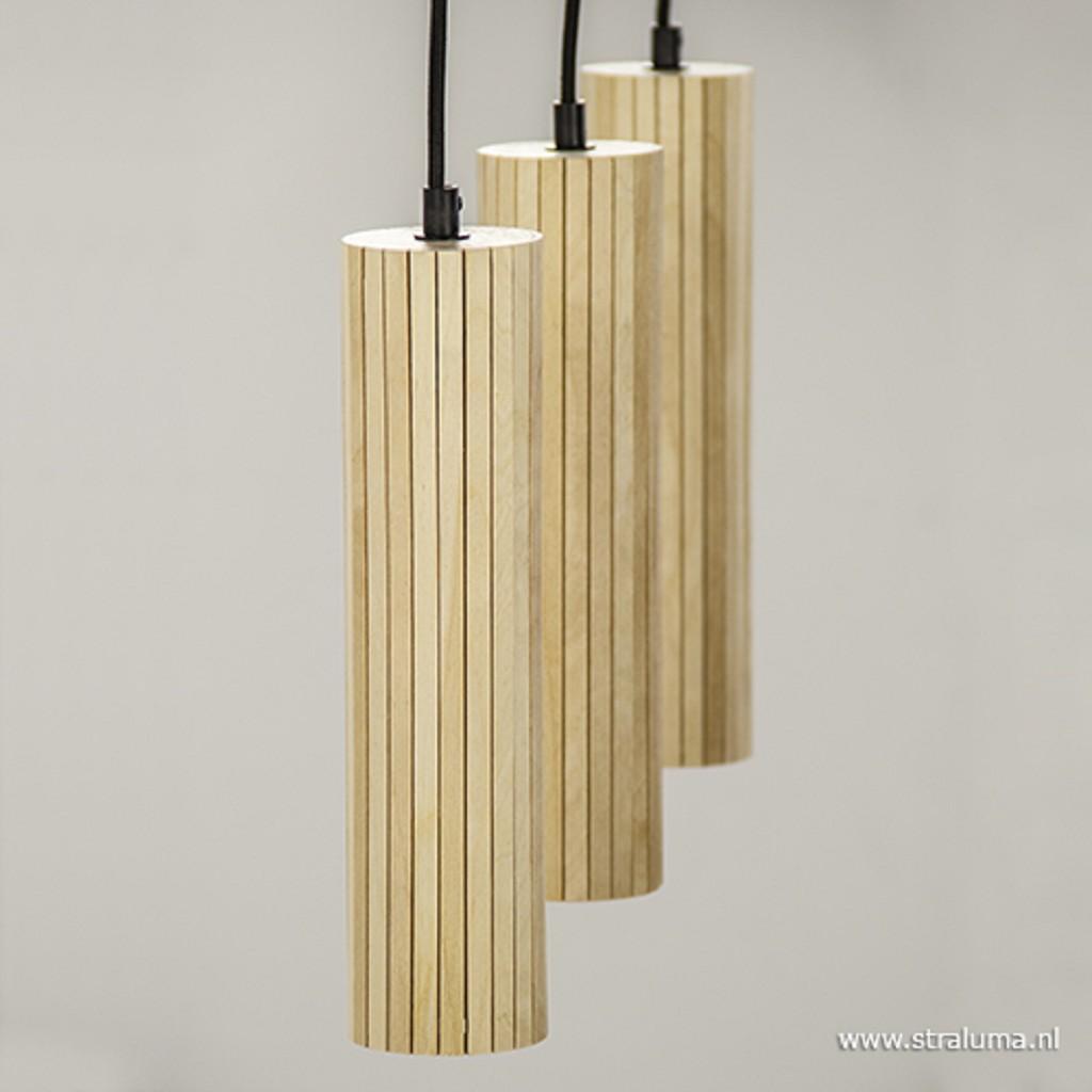 Houten hanglamp eettafel/bar met zwart