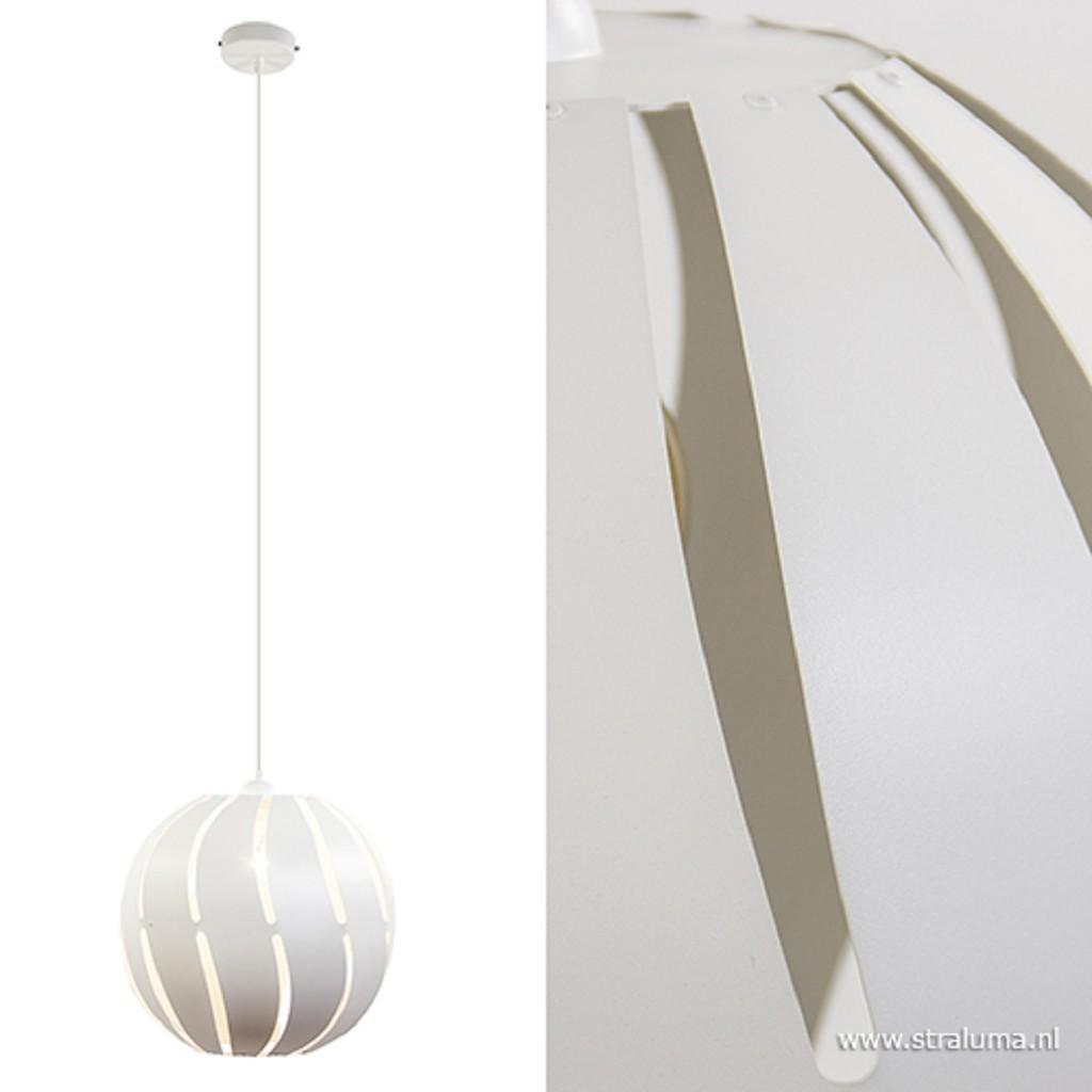 Witte hanglamp grote bol metaal