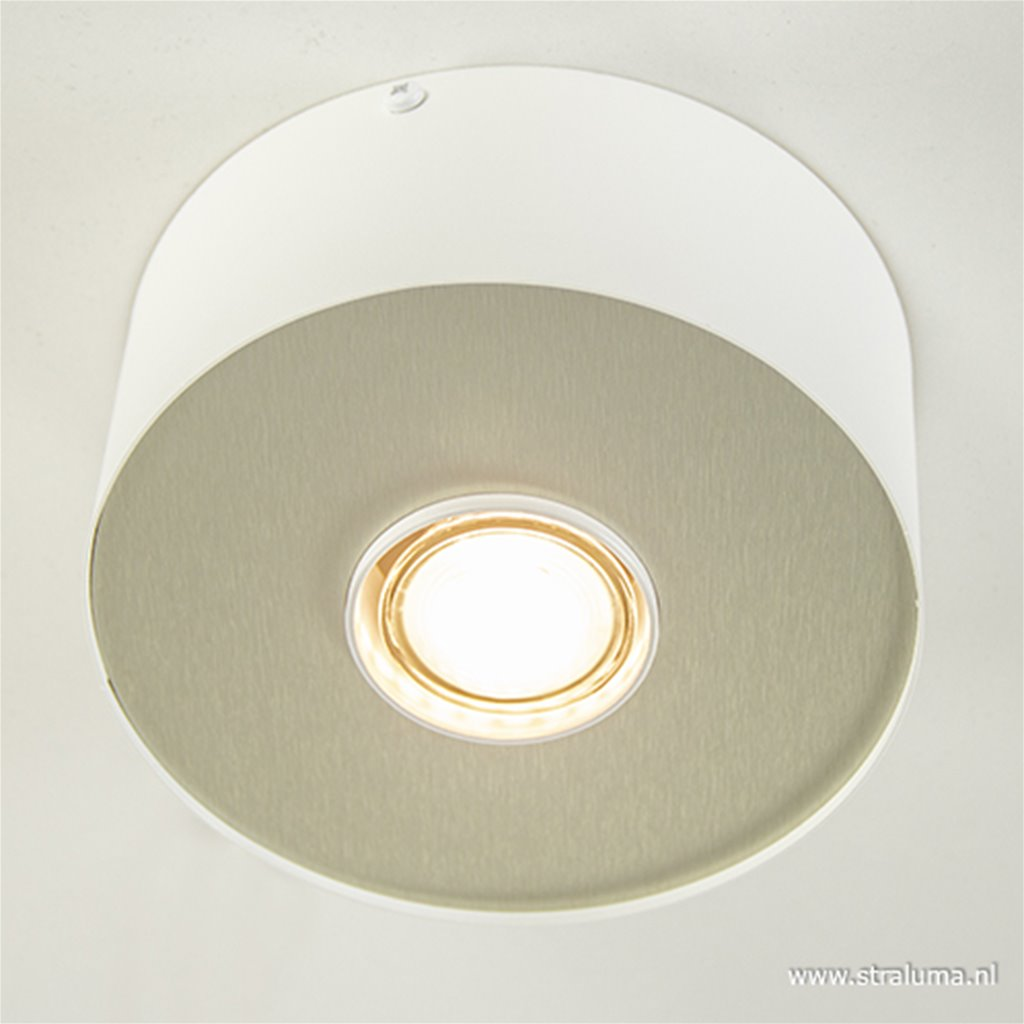 Plafondspot rond vast wit/alu gu10