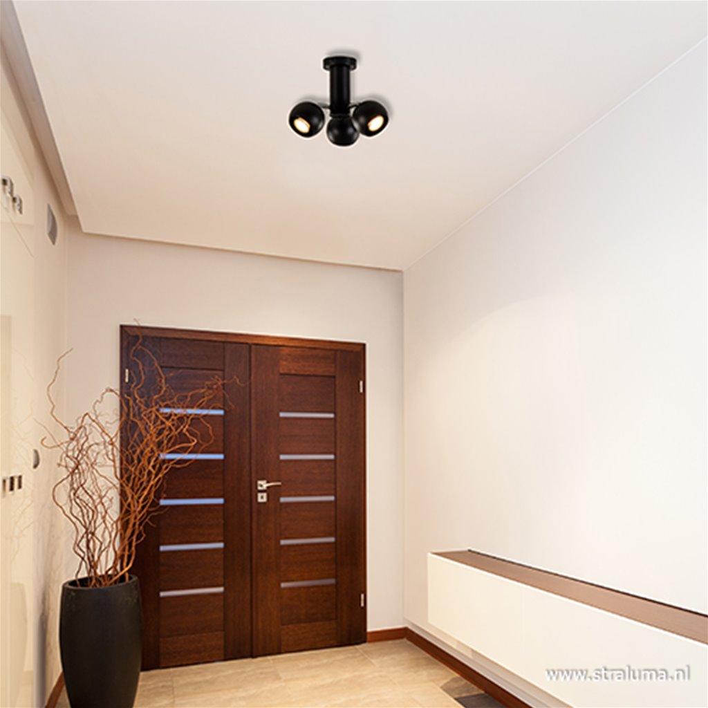 3-Lichts plafondlamp zwart met chroom