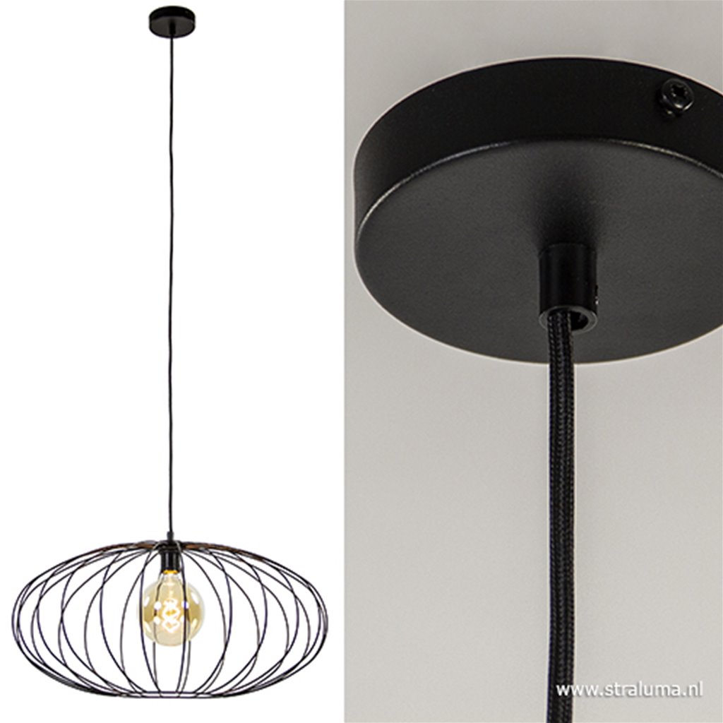 Zwarte draadlamp-hanglamp 60 cm