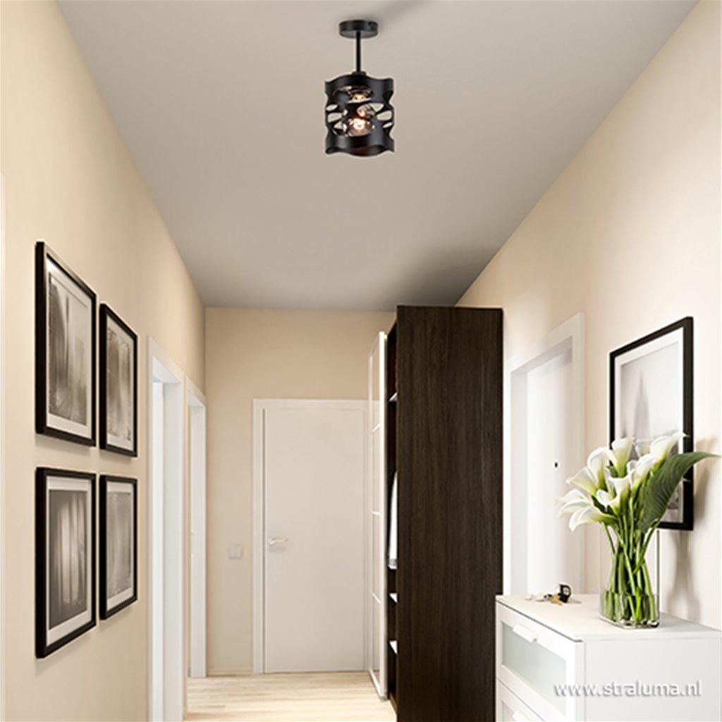 Kleine zwarte plafondlamp hal/keuken