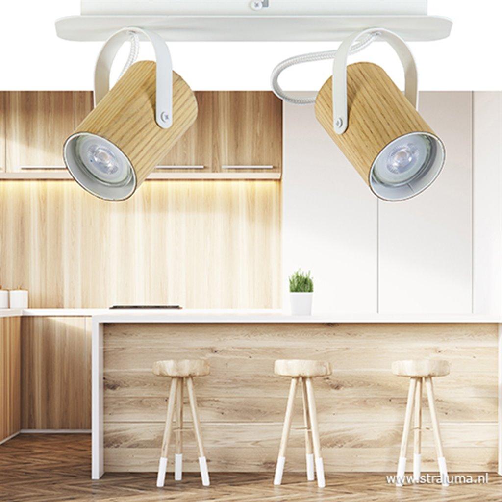 Spot balk 2-lichts essen hout/wit gu10