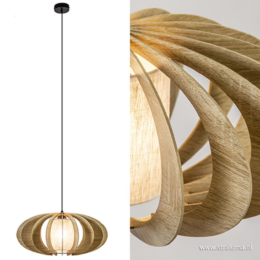 Landelijke ronde hanglamp hout