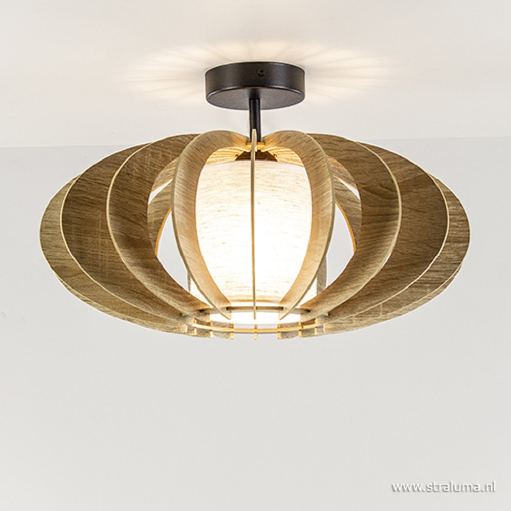 Landelijke plafondlamp hout met zwart