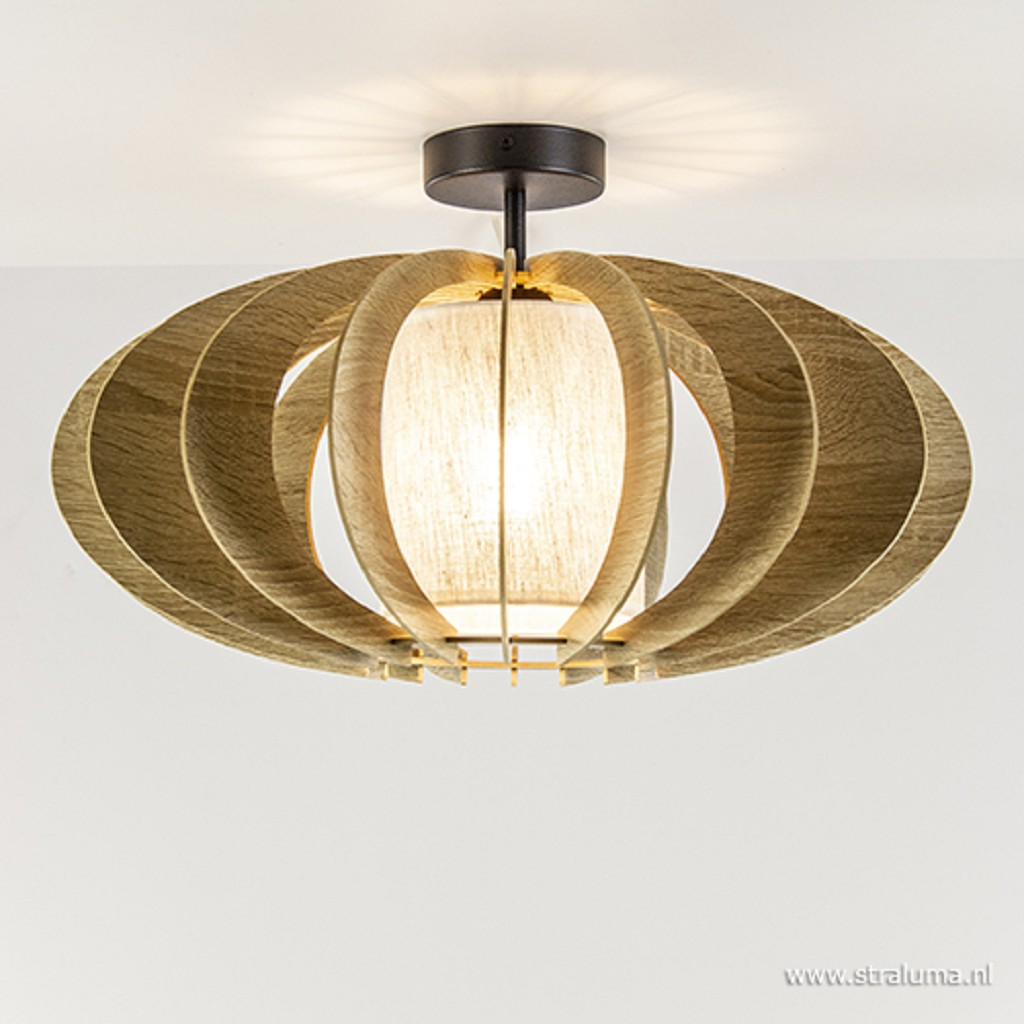 Grote houten plafondlamp rond met zwart