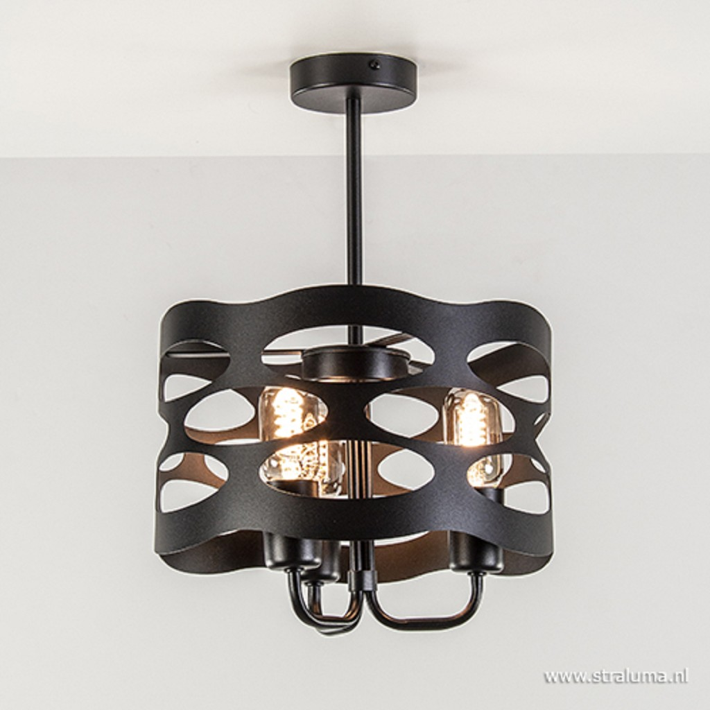 Moderne plafondlamp zwart metaal 3-L