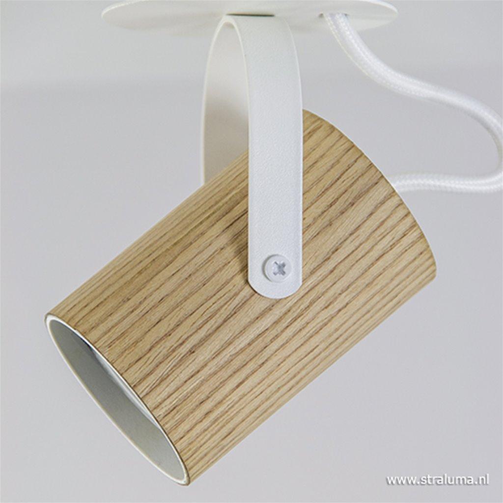 Opbouwspot 1-lichts essen hout/wit gu10
