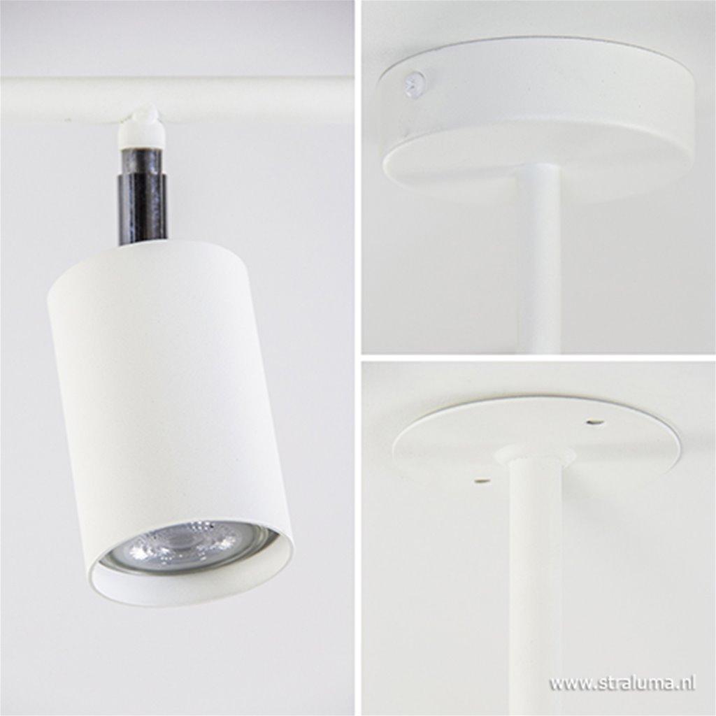 Opbouwspot op stang 3-lichts wit