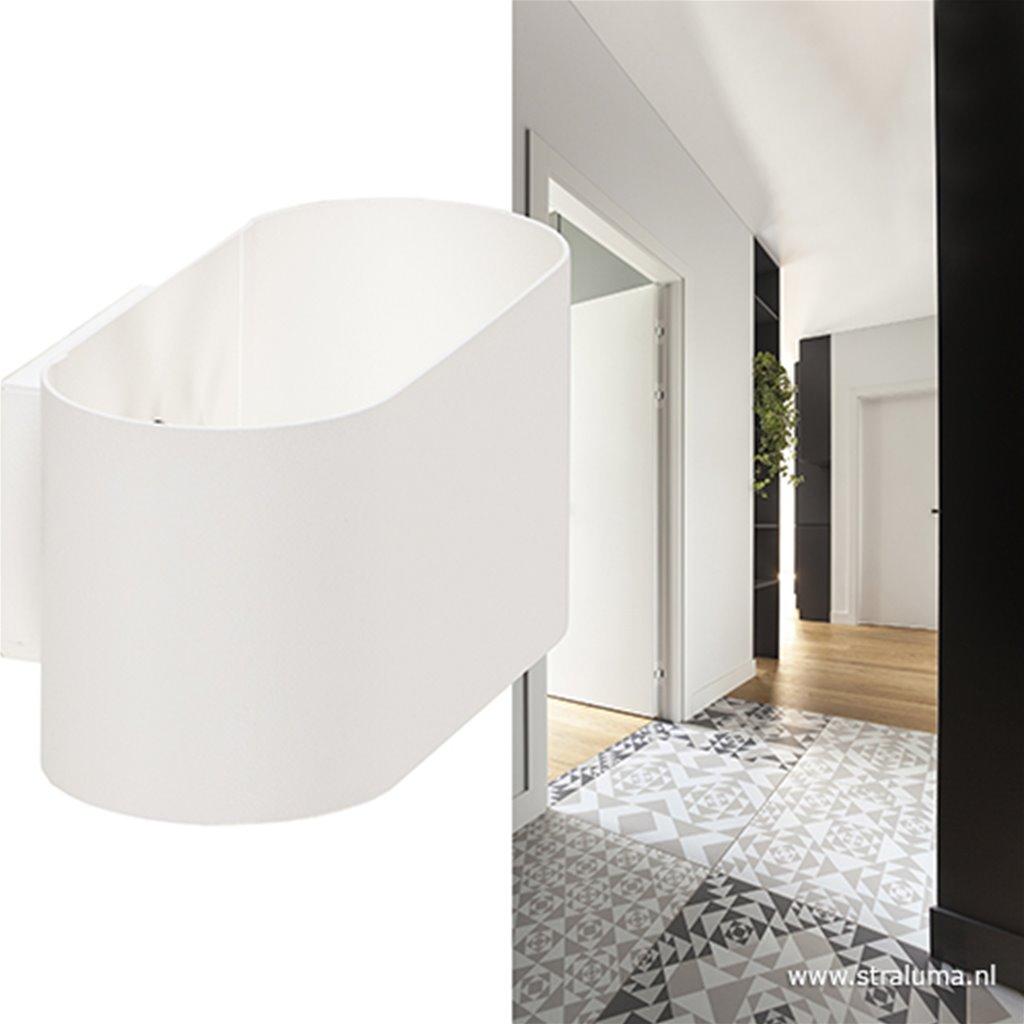 Kleine ovale wandlamp wit modern