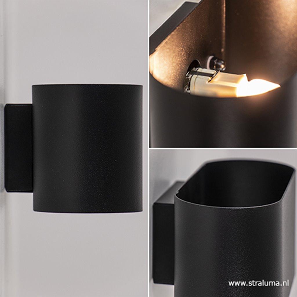 Moderne kleine wandlamp ovaal zwart
