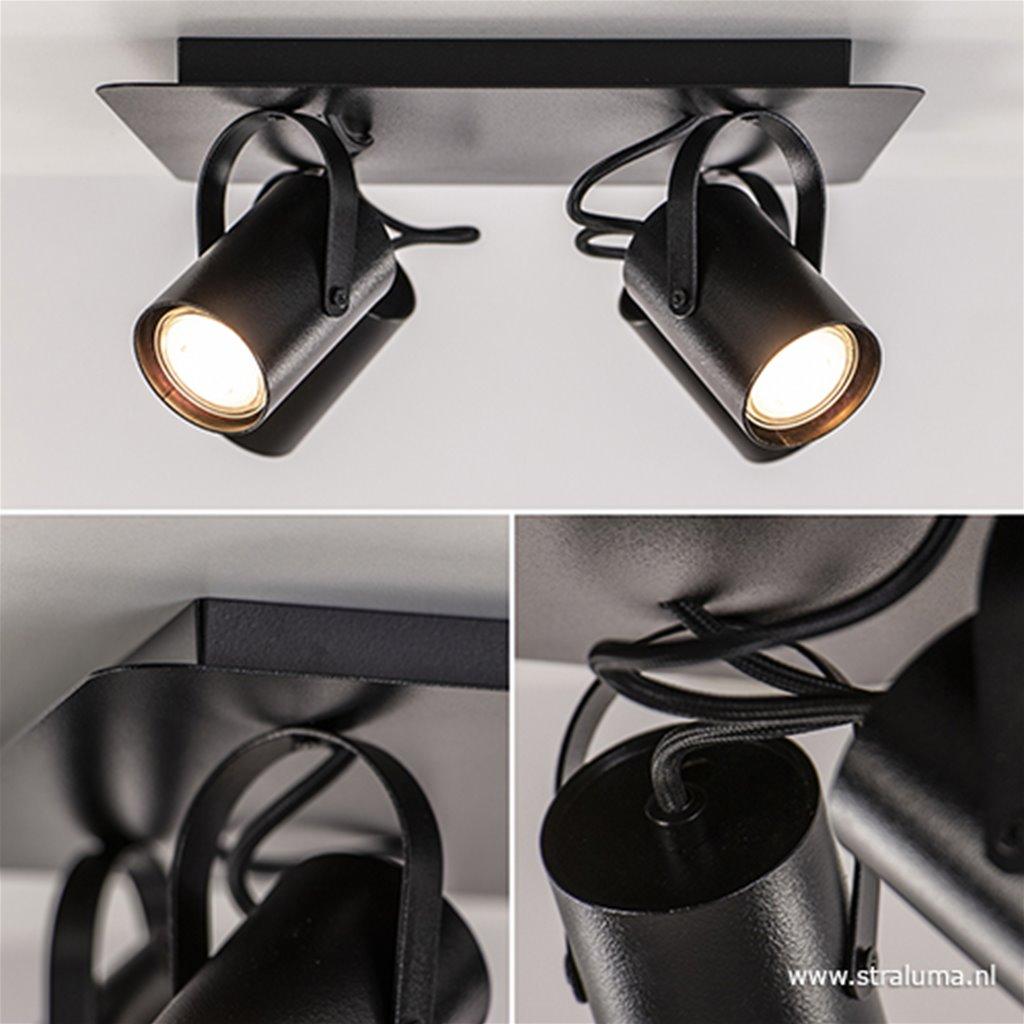 4-Lichts opbouwspot zwart GU10
