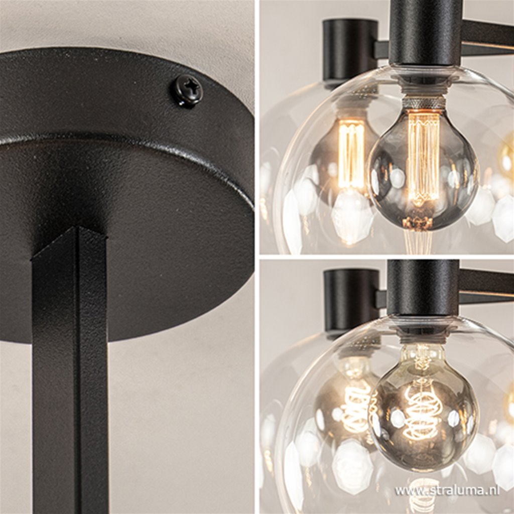 Grote 5-lichts plafondlamp helder glas