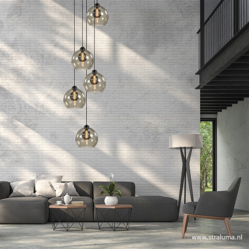 5-Lichts vide hanglamp met smoke glas