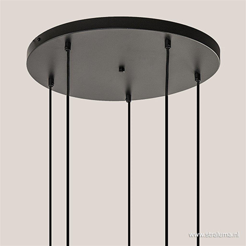 5-lichts plaat rond + pendels zwart ex.lb