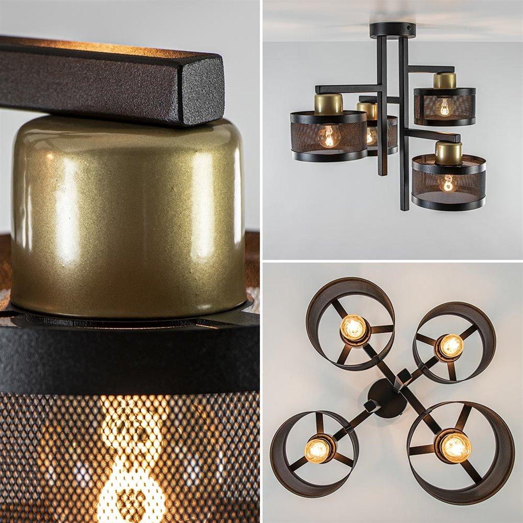 Zwarte 4-lichts plafondlamp met ronde kappen