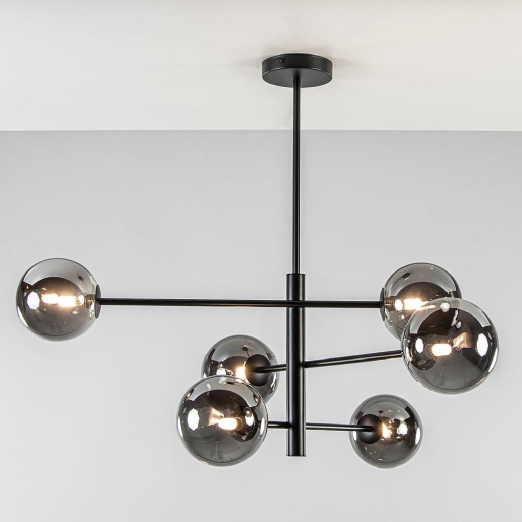 Retro plafondlamp zwart met smoke glazen bollen