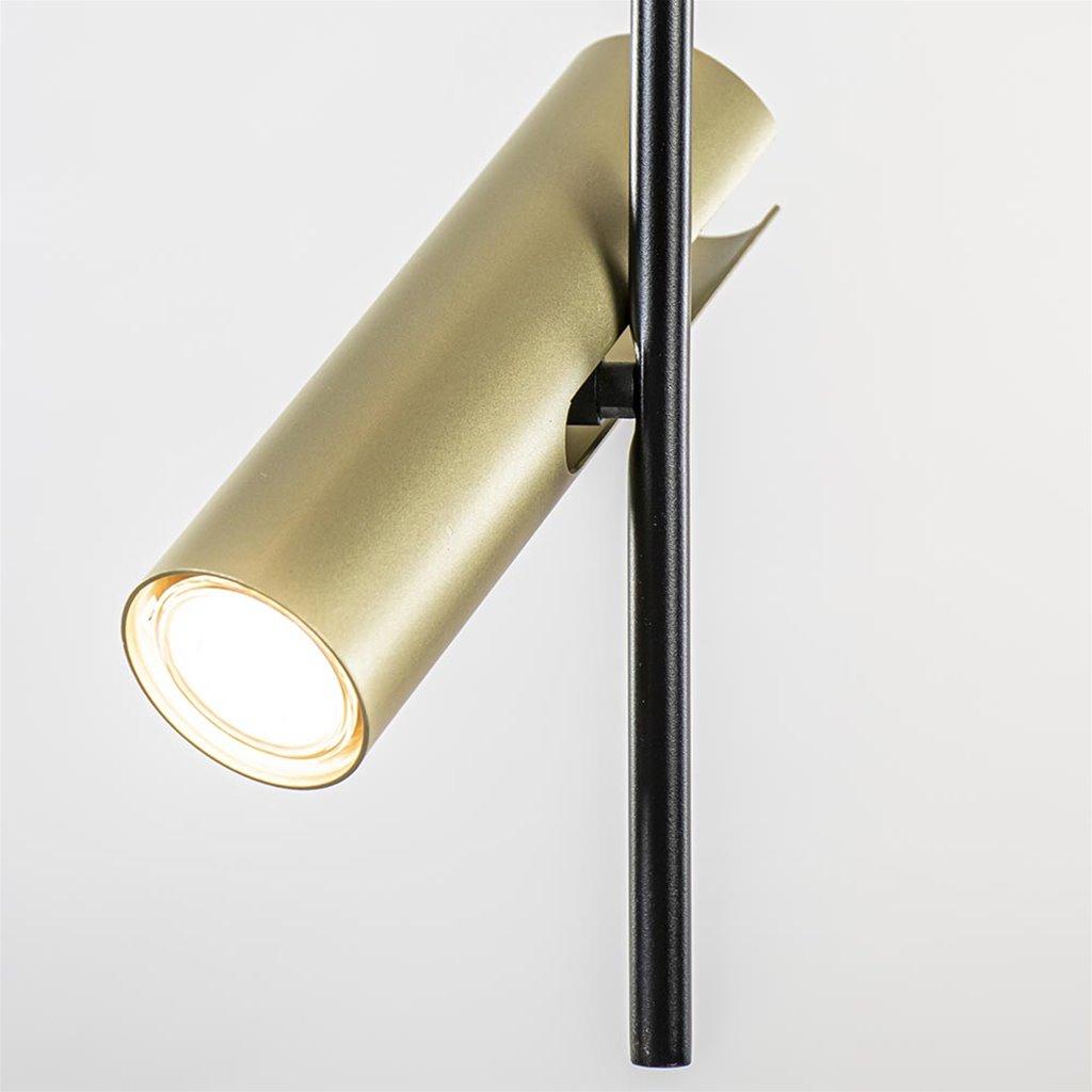 Zwart met gouden plafondspot 4-lichts groot