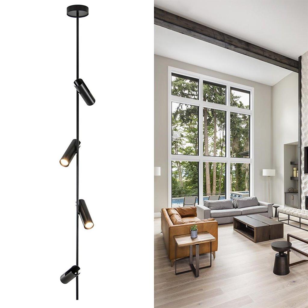 Zwarte 4-lichts opbouwspot voor hoog plafond
