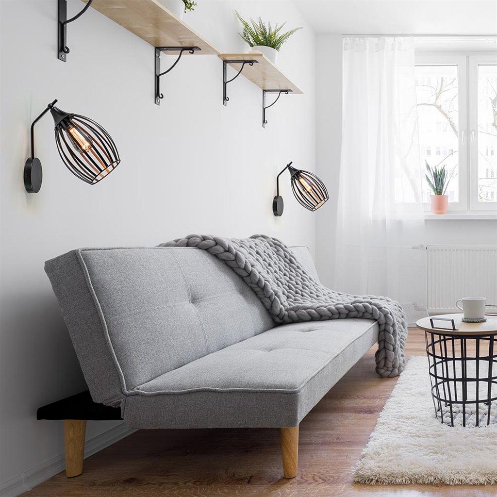 Scandinavische wandlamp met draad korf zwart