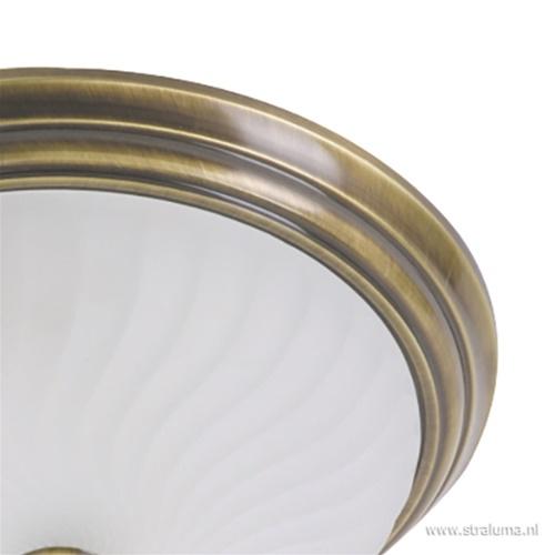 klassieke plafonnière Brons/glas