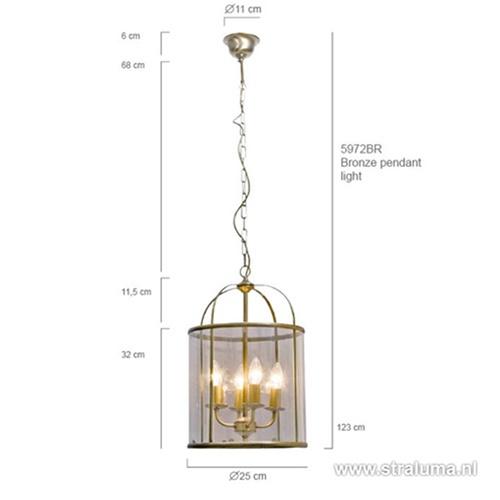Hanglamp Pimpernel brons/Glas 5972BR