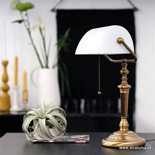 Tafellamp Derio brons/glas met trekschakelaar