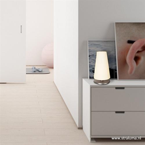 Moderne tafellamp Ancilla nikkel met glas