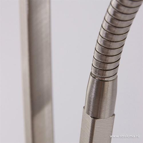 Vloerlamp Capri staal/glas met leeslamp