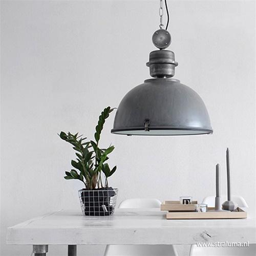 Hanglamp industrie in beton-look/grijs