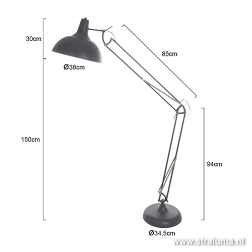 Vloerlamp groot verstelbaar grijs