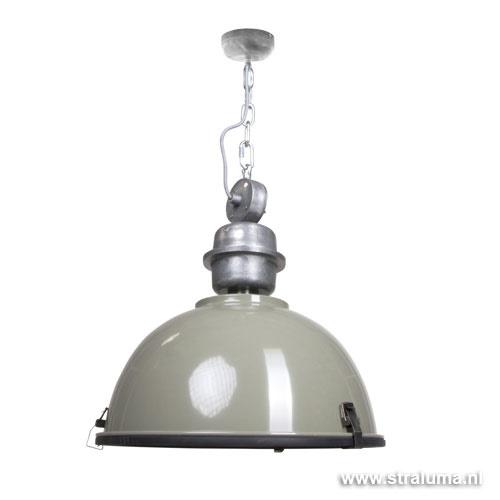 Industriele hanglamp olijf metaal Bik