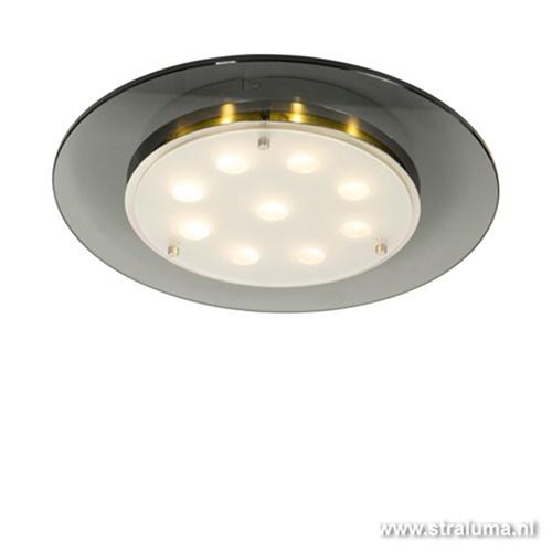 LED plafondlamp rond met donker glas