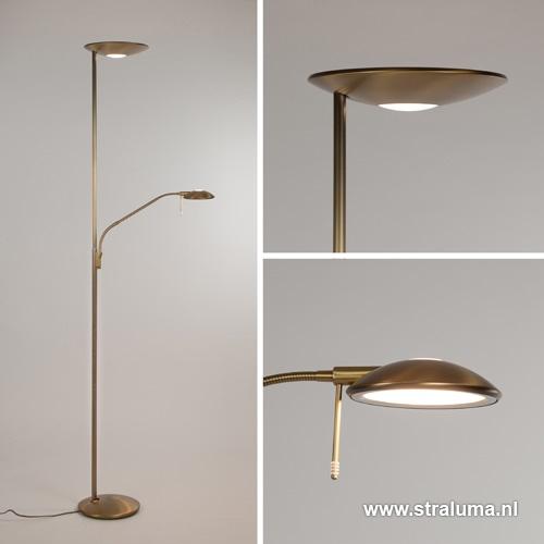 LED uplighter-vloerlamp brons met dimmer