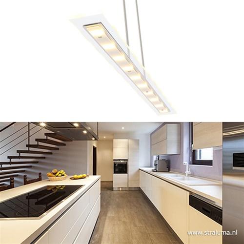 Hanglamp glasplaat wit/rvs 140cm + dim