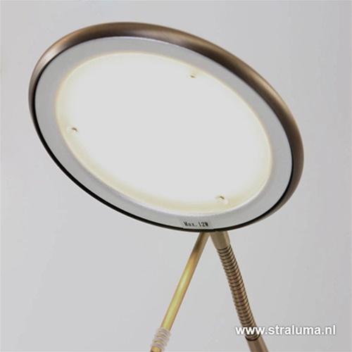 Led vloerlamp brons met touchdimmer