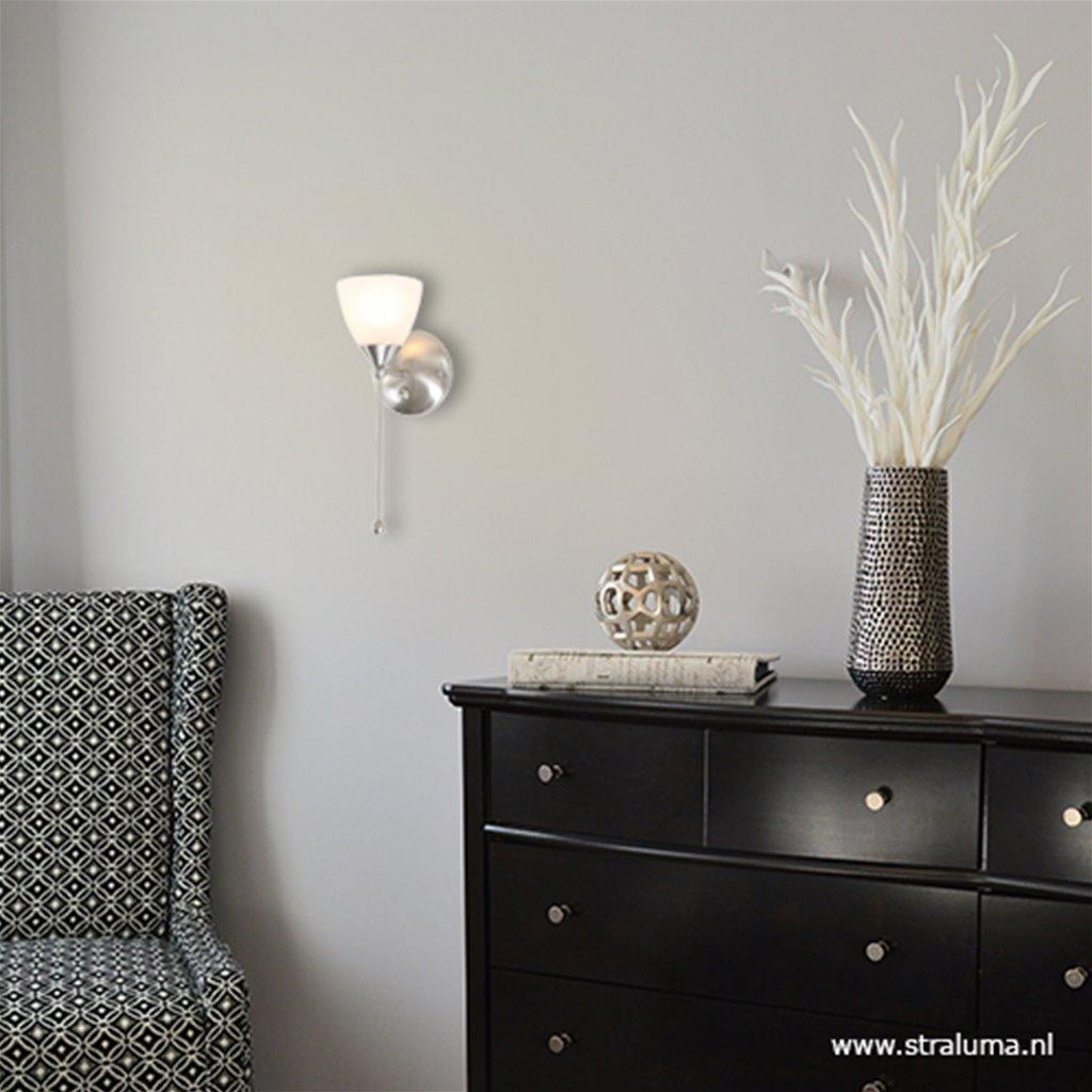 Stalen wandlamp Burgundy met dimmer