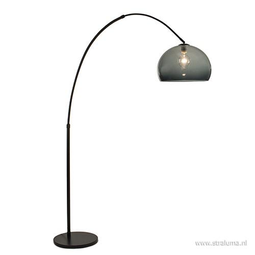 Boog-vloerlamp zwart exclusief kap