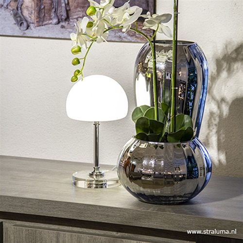 LED tafellamp chroom/opaal glas dimbaar