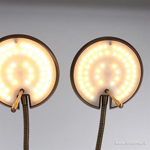 2-Lichts leeslamp brons LED dimbaar