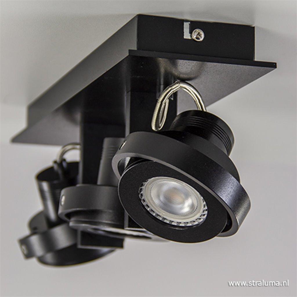Plafondspot 3L op balk zwart gu10 incl.