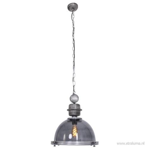 Industriele hanglamp metaal met smoke glas