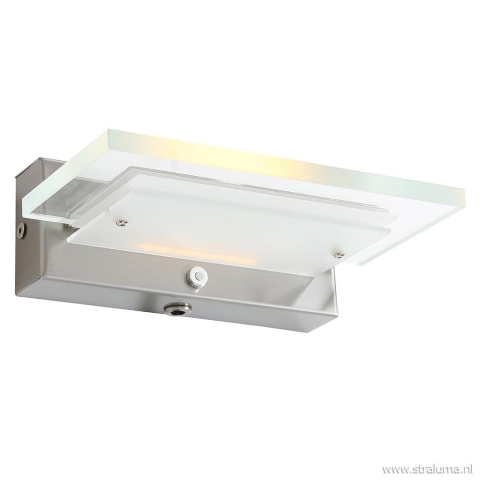 Stalen wandlamp met helder glas en dimbaar LED