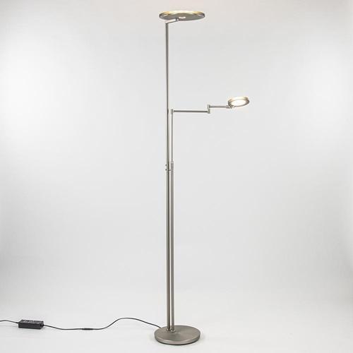 Moderne vloerlamp uplighter staal met smoke glas