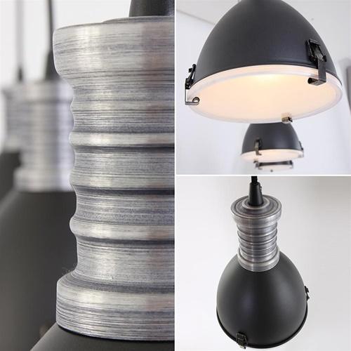 3-Lichts industriële hanglamp mat zwart