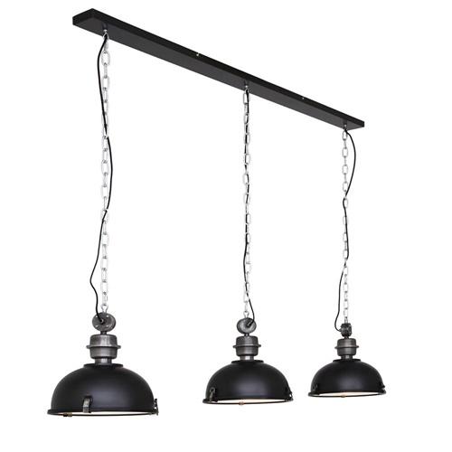 Industriële 3-lichts hanglamp bikkel mat zwart
