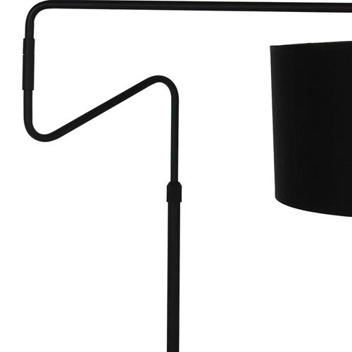 Moderne vloerlamp mat zwart met goud verstelbaar