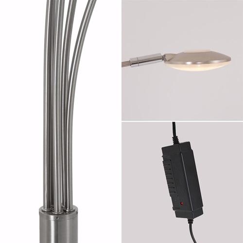 Moderne LED vloerlamp 5-lichts geborsteld staal dimbaar