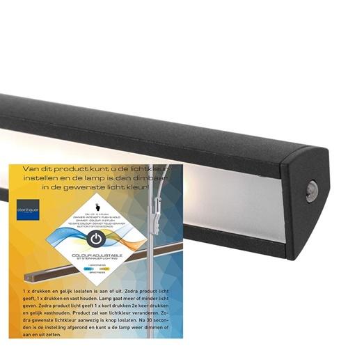 Wandlamp schilderij zwart inclusief dimbaar LED
