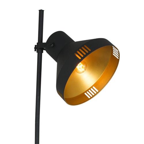 Mat zwarte vloerlamp met goud